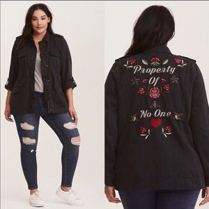 "Torrid ""property of no one"" plus size jacket #3436"